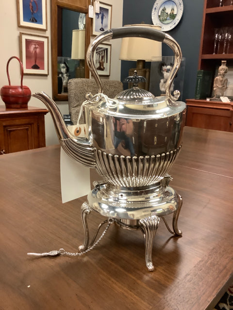Silver Plated Teapot with Warmer and Black Embellishments