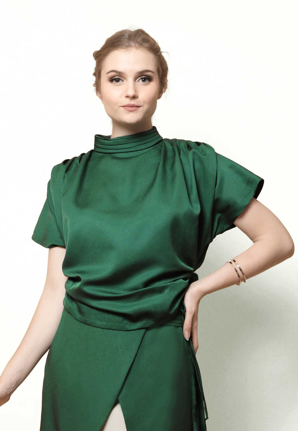 Avery. Pleated Neck Top - Green