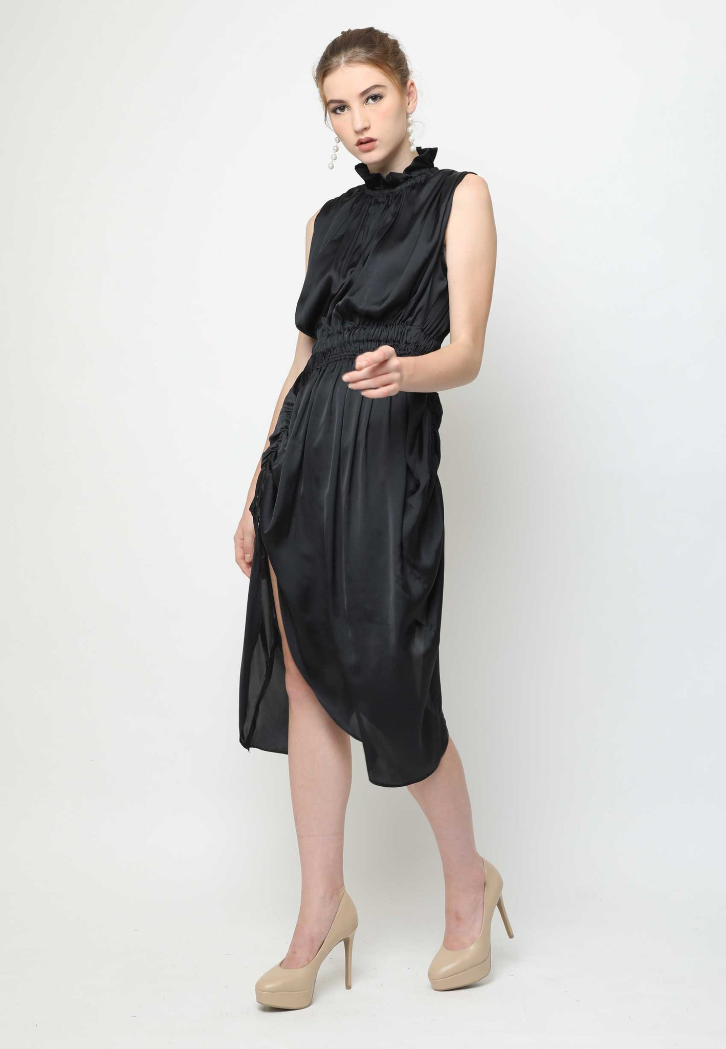 Ava. Arched Dress - Black