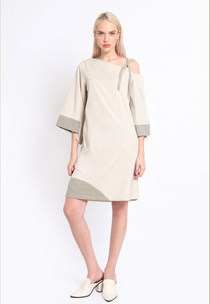 Cole. Mid Off-Shoulder Stripes Dress - Khaki