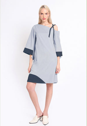 Cole. Mid Off-Shoulder Stripes Dress - Grey