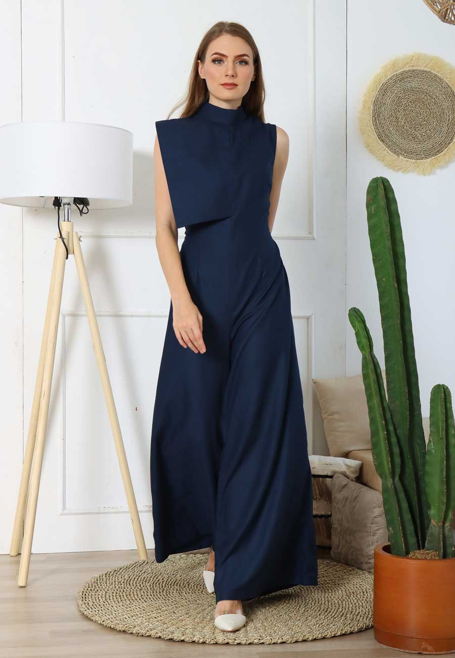 Ivonne. Open-back Jumpsuit - Dark Blue