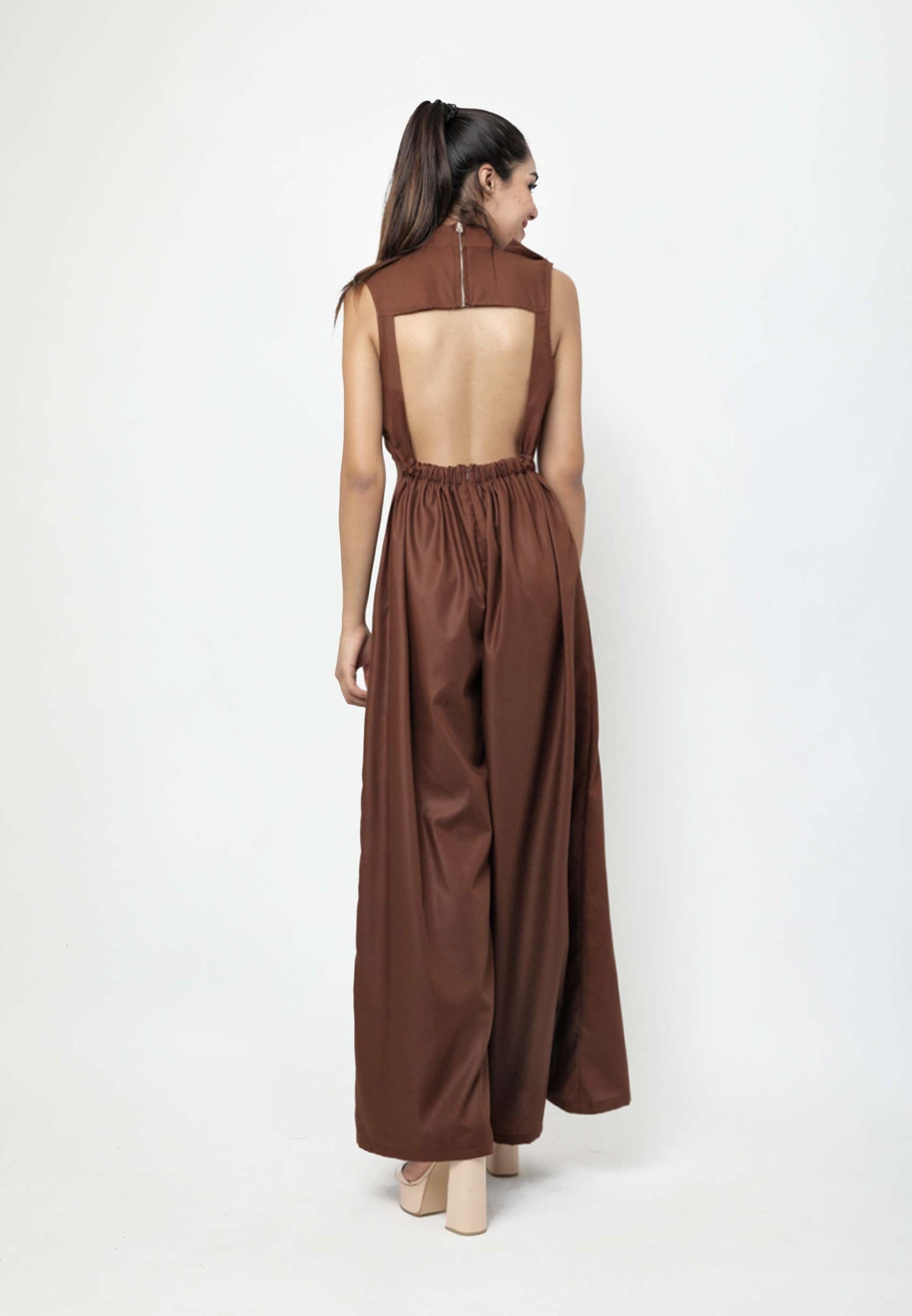 Ivonne. Open-back Jumpsuit - Dark Brown