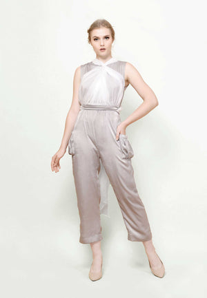 Elyse. Infinity Jumpsuit - White Grey