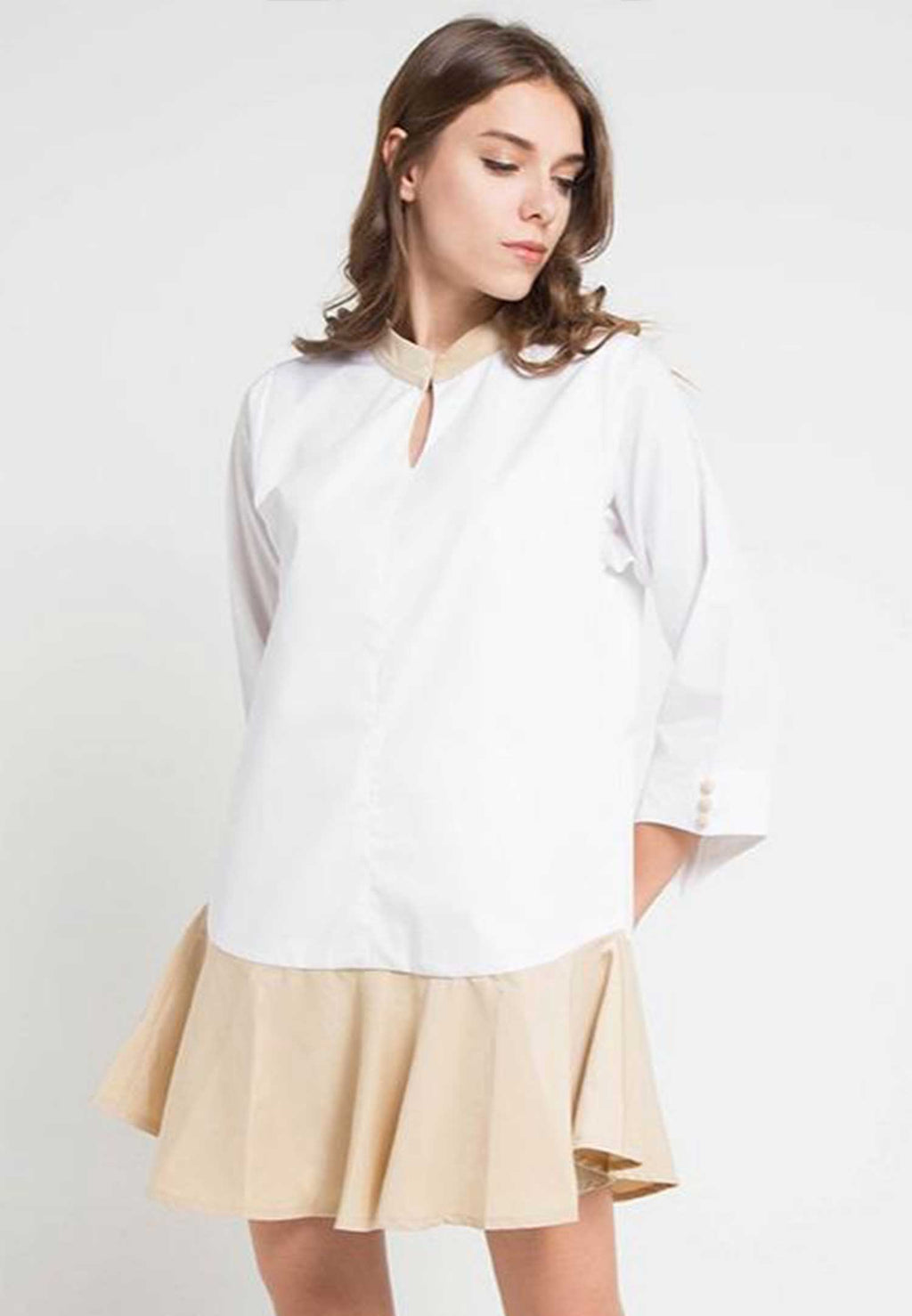 Estelle. Mini Flair Dress - Cream