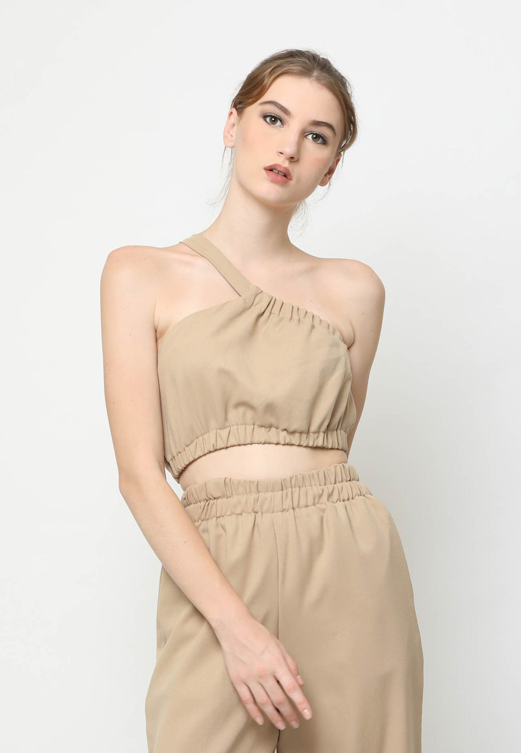 Clea. One Shoulder Crop Top - Khaki