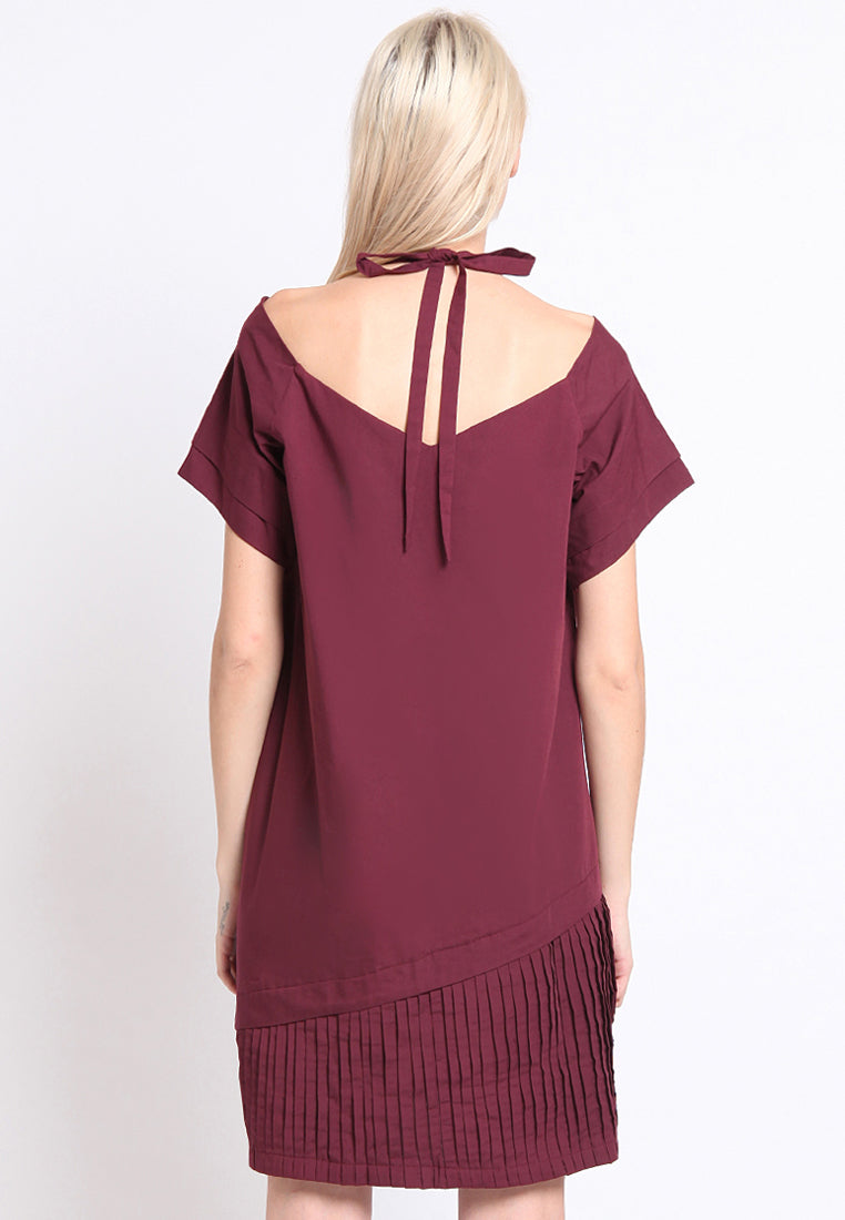 Molly. Pleated Dress - Maroon