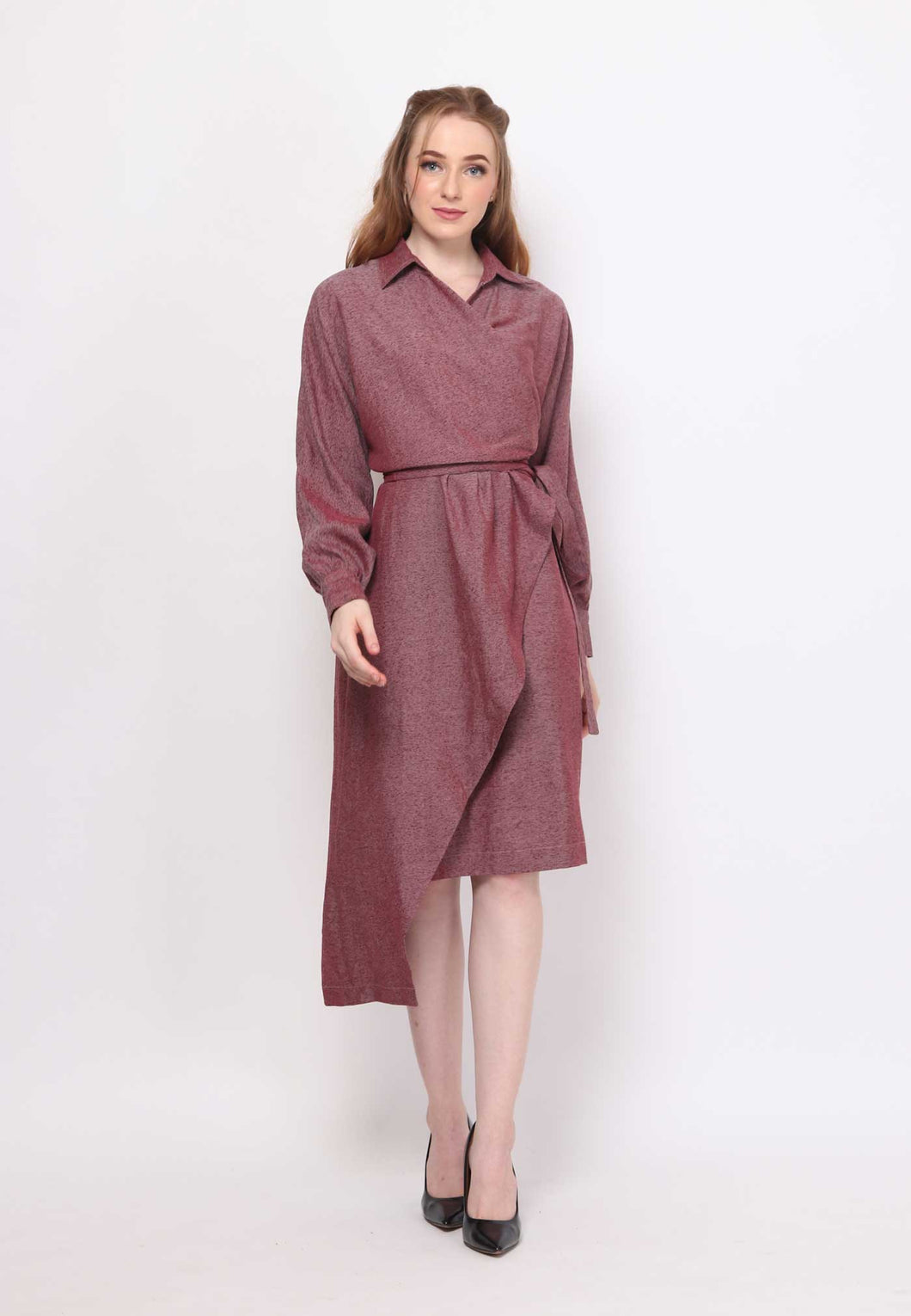 Fayth. Wrap Dress - Maroon
