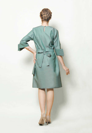 Pandora. Rippled Button Dress - Green