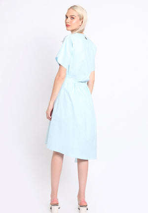 Quila. Frilled Slit Dress - Blue
