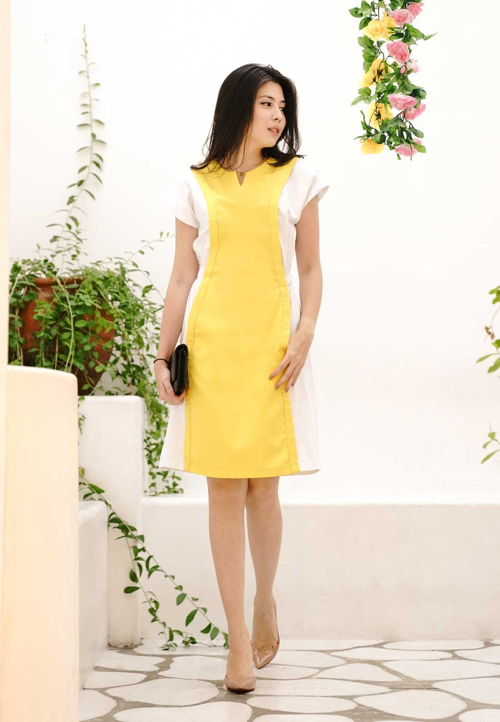 Ryne. Color Block Dress - Yellow