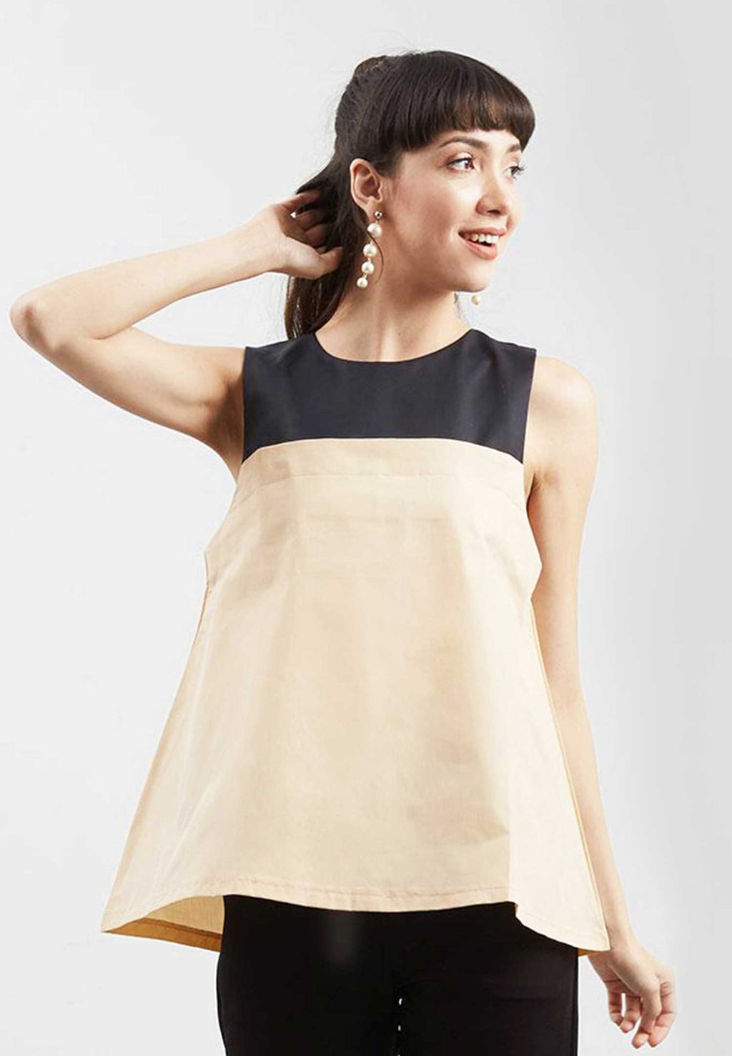 Ulyana. Zip Summer Sleeveless Top - Cream