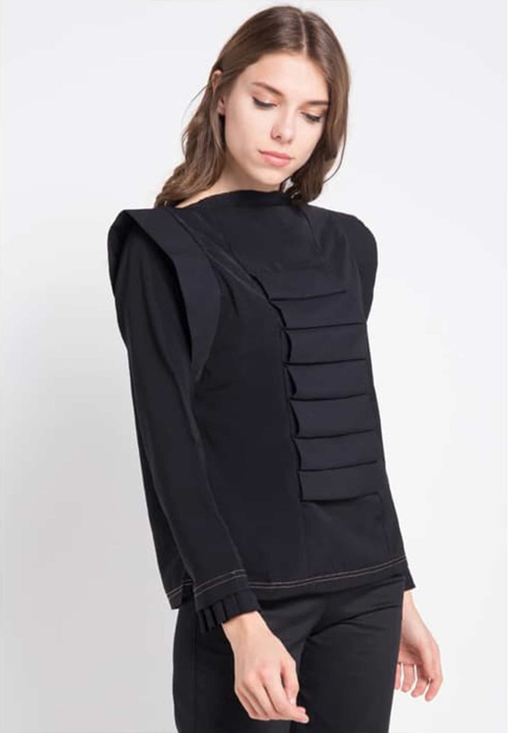 Zacharias. Vouwen Sleeved Top - Black