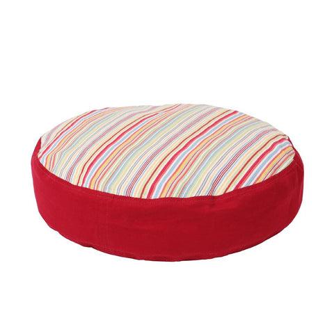 Round Dog Bed Set - Sierra Cool Blue with Simply Red Twill