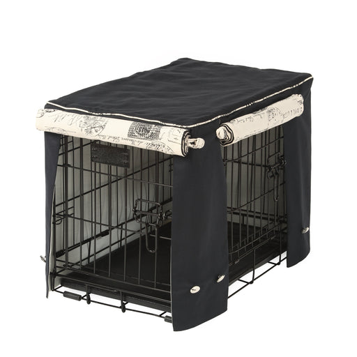Black with Parisian Dog Crate Cover