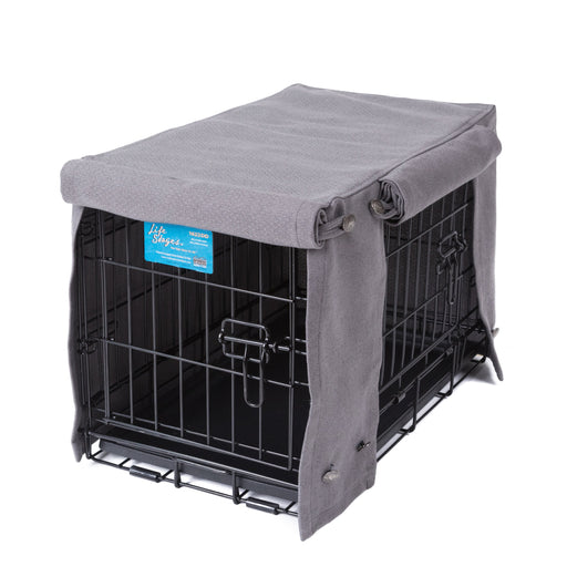 Washable Dog Crate Cover Pewter Performance Fabric