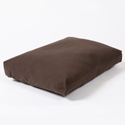 Washable Rectangular Dog Bed Cover in Dark Chocolate Twill