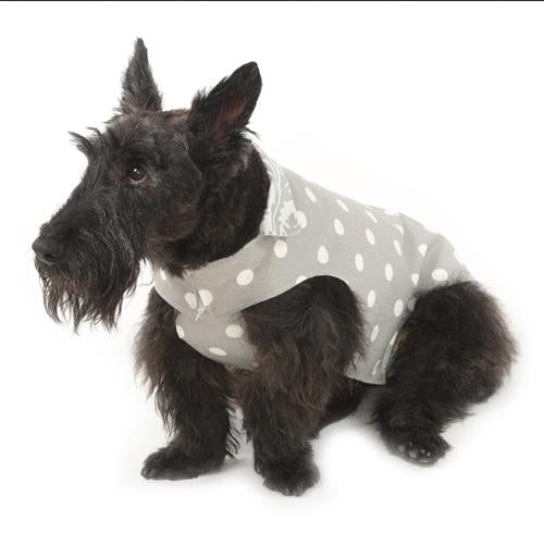 Grey Polka Reversible Dog Jacket