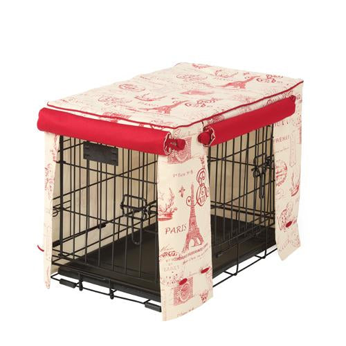 Parisian Red Dog Crate Cover - FINAL SALE No Returns No Exchanges