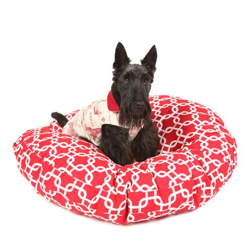 Round Dog Bed Cover - Red Squares