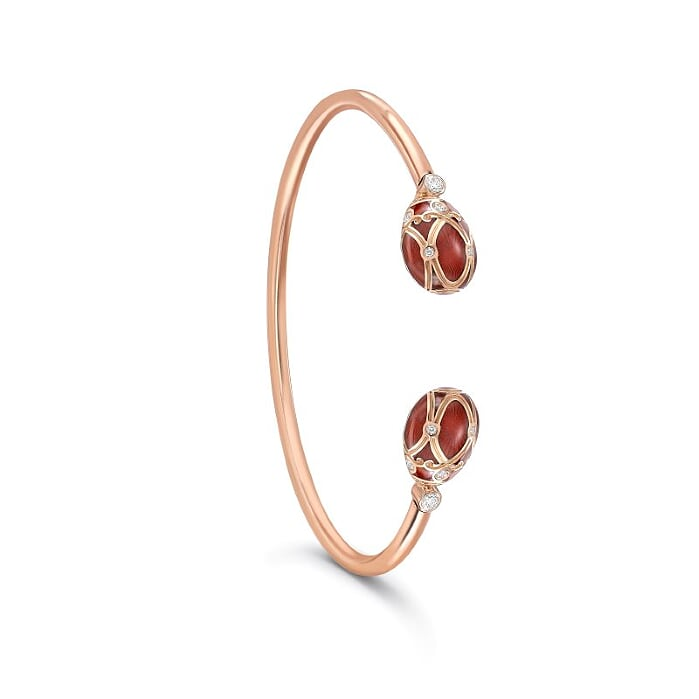 Yelagin 18K Rose Gold Diamond Open Bracelet With Red Enamel