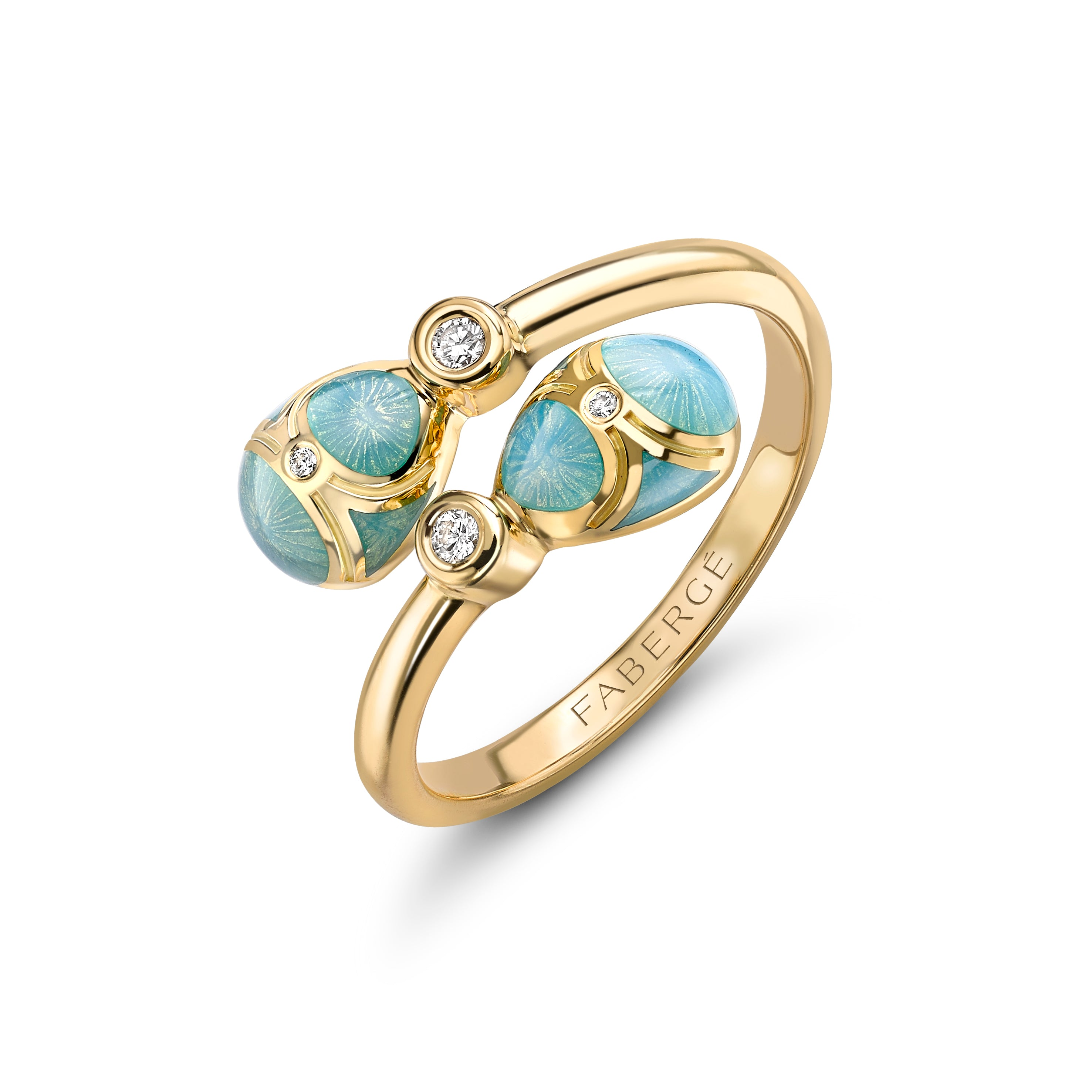 Palais 18K Yellow Gold Diamond & Turquoise Guilloché Enamel Eggs Crossover Ring