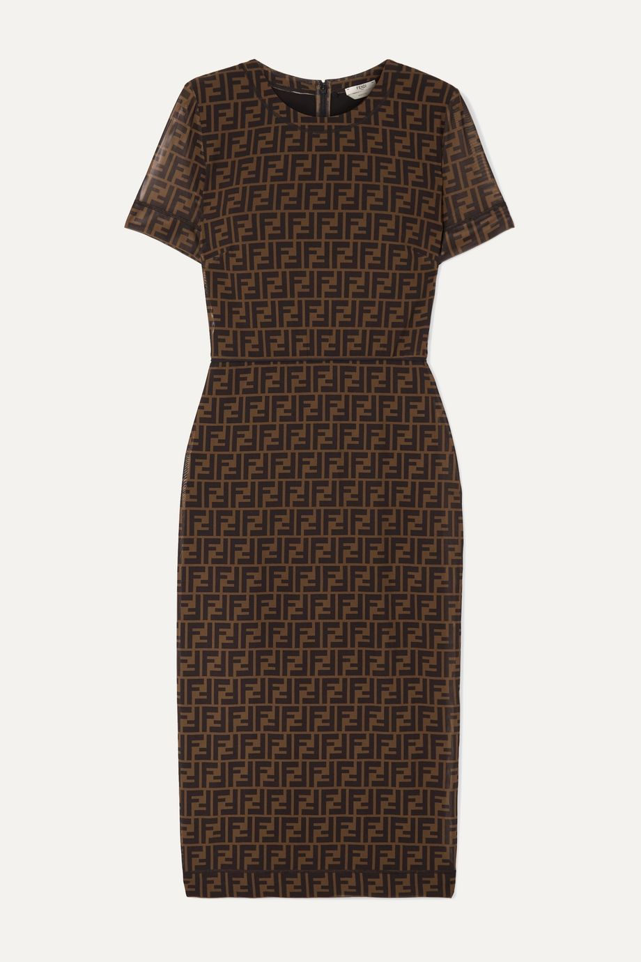 Printed stretch-mesh midi dress