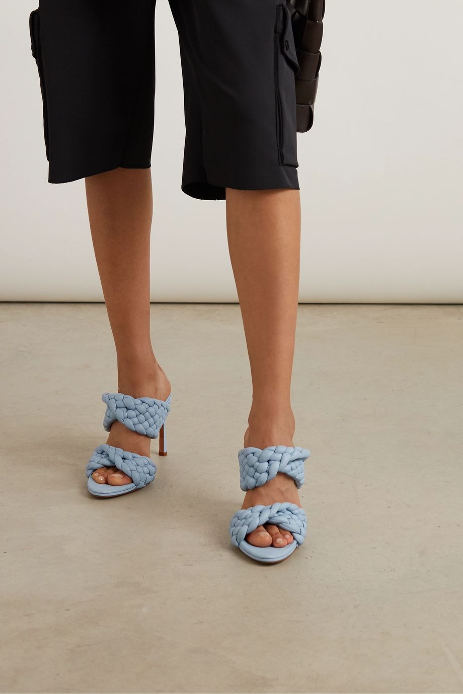 Intrecciato quilted leather mules