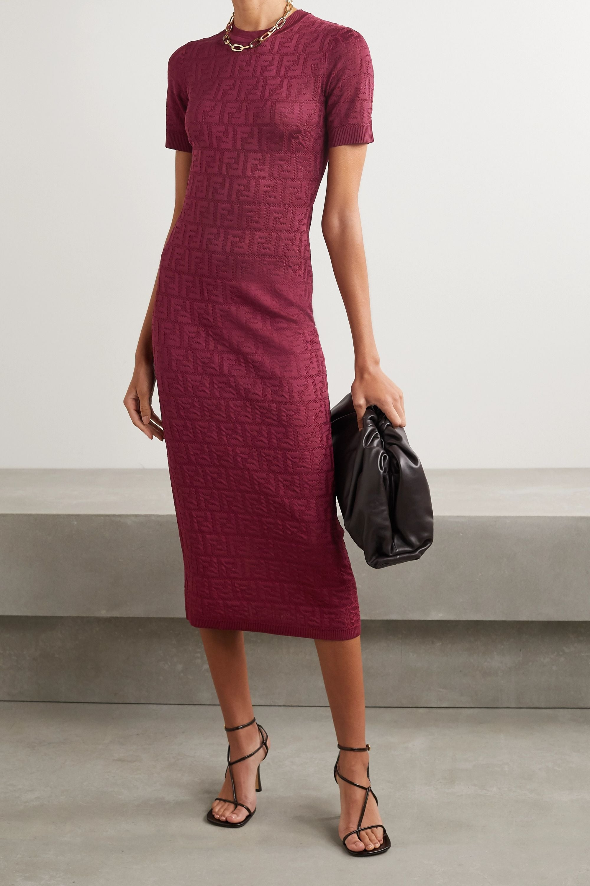 Cotton-blend jacquard midi dress