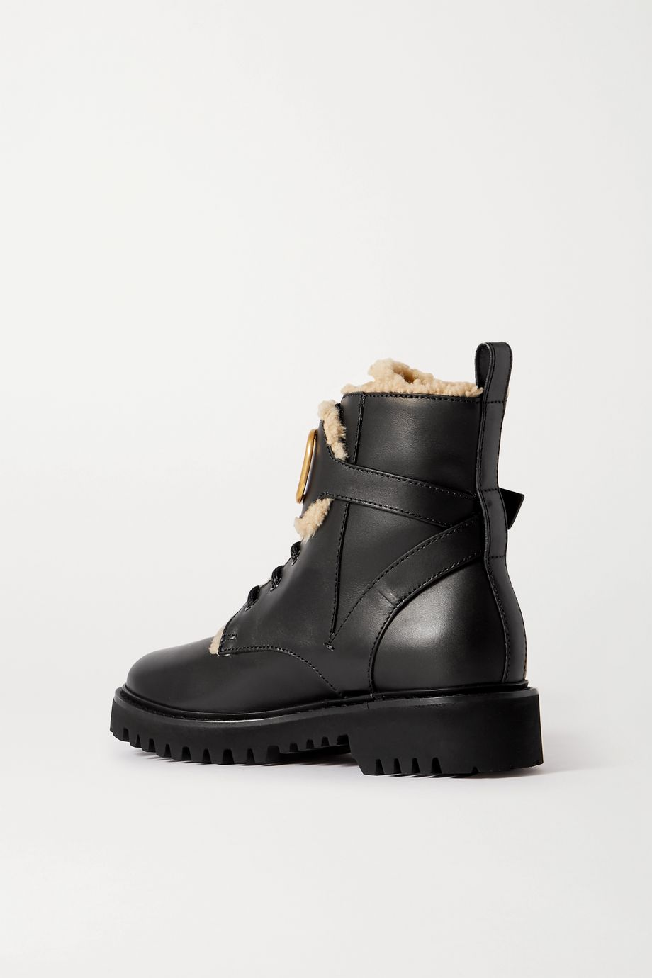 Valentino Garavani Go Logo embellished shearling-lined leather ankle boots