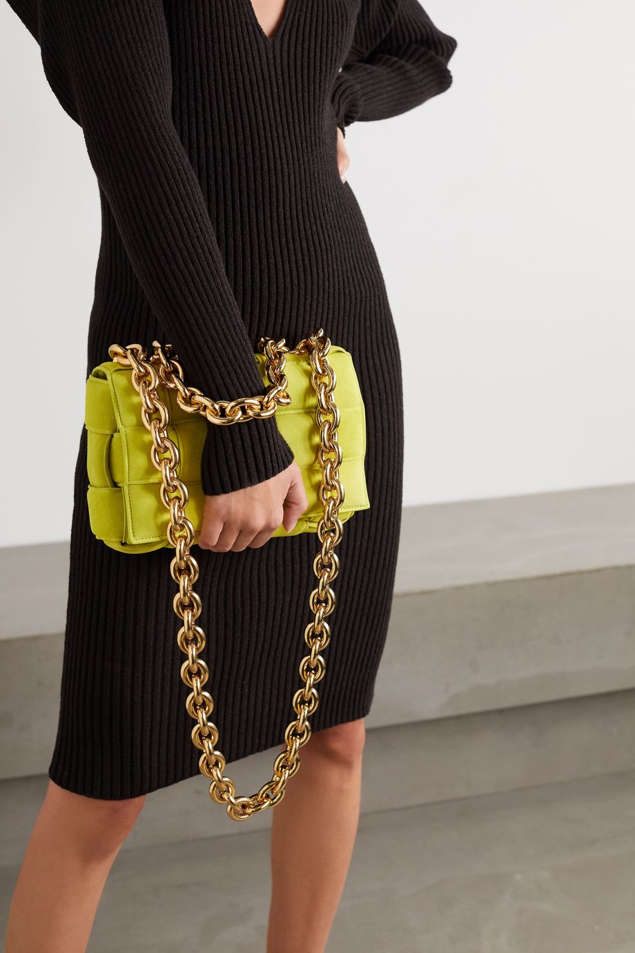 Cassette chain-embellished padded intrecciato suede shoulder bag