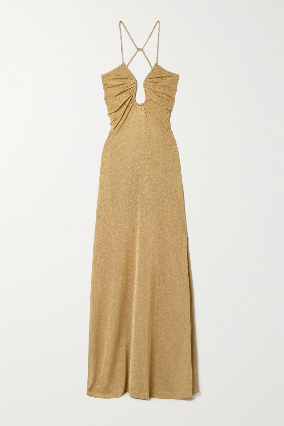 Open-back metallic knitted gown