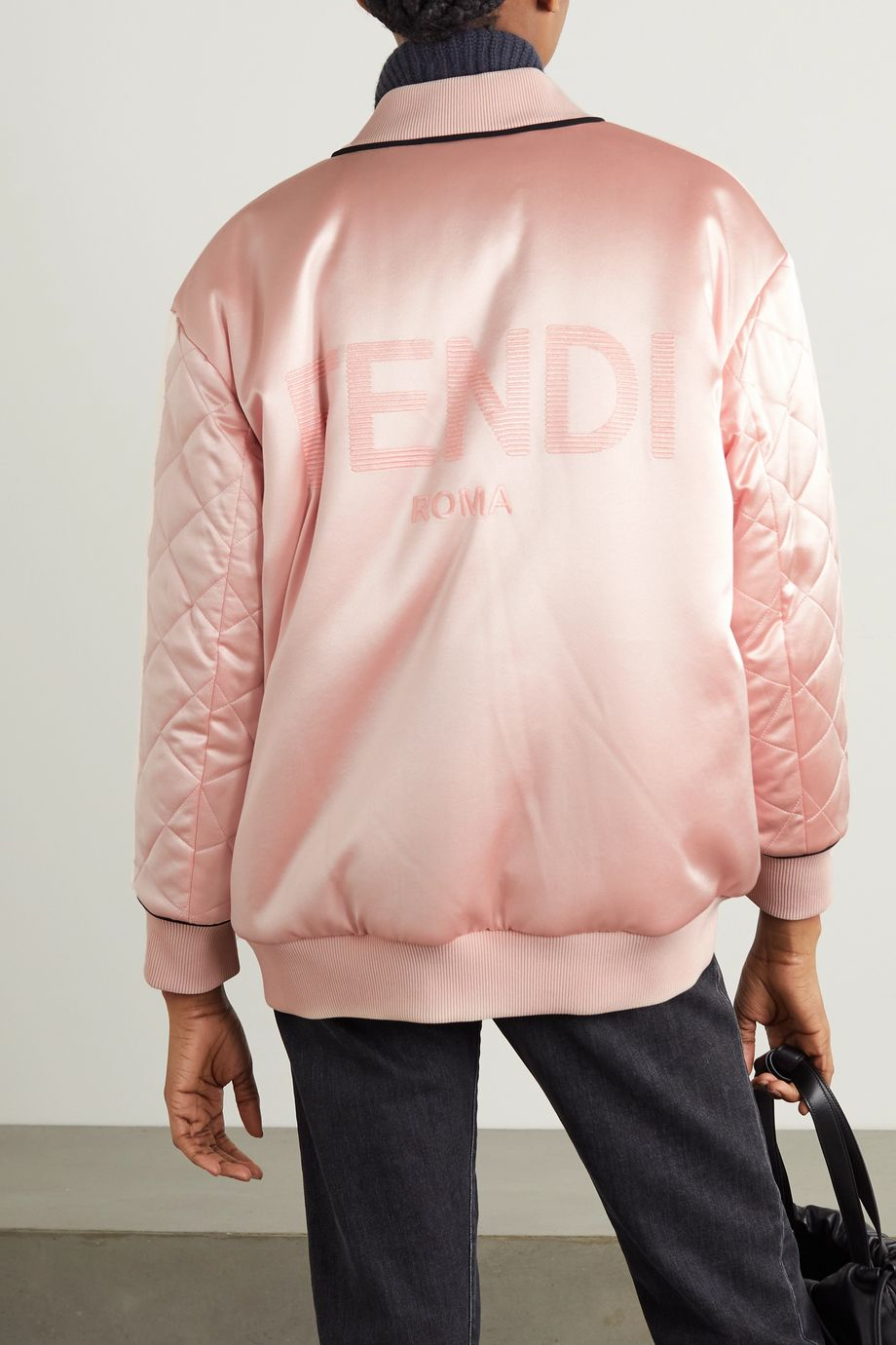 Reversible embroidered quilted silk-satin bomber