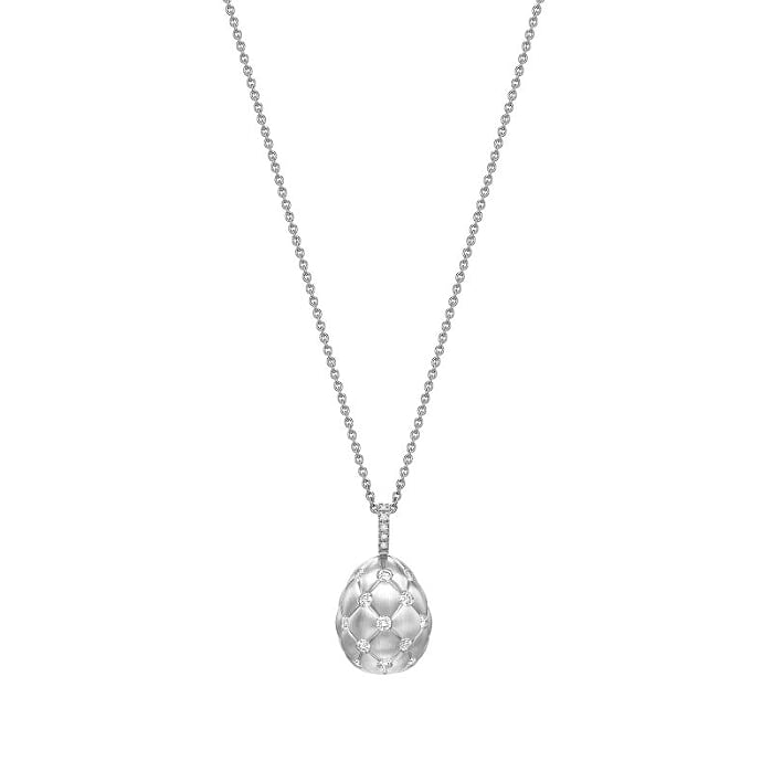 Treillage Brushed White Gold & Diamond Set Egg Pendant