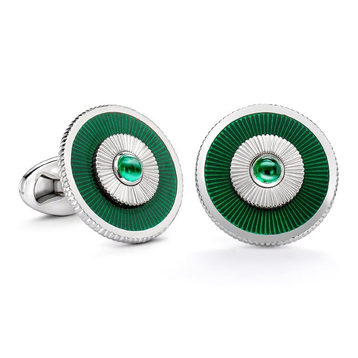 18K White Gold Enamel Cufflinks With Green Guilloché Enamel