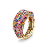 Emotion 18K Yellow Gold Diamond & Multicolour Gemstone Encrusted Ring