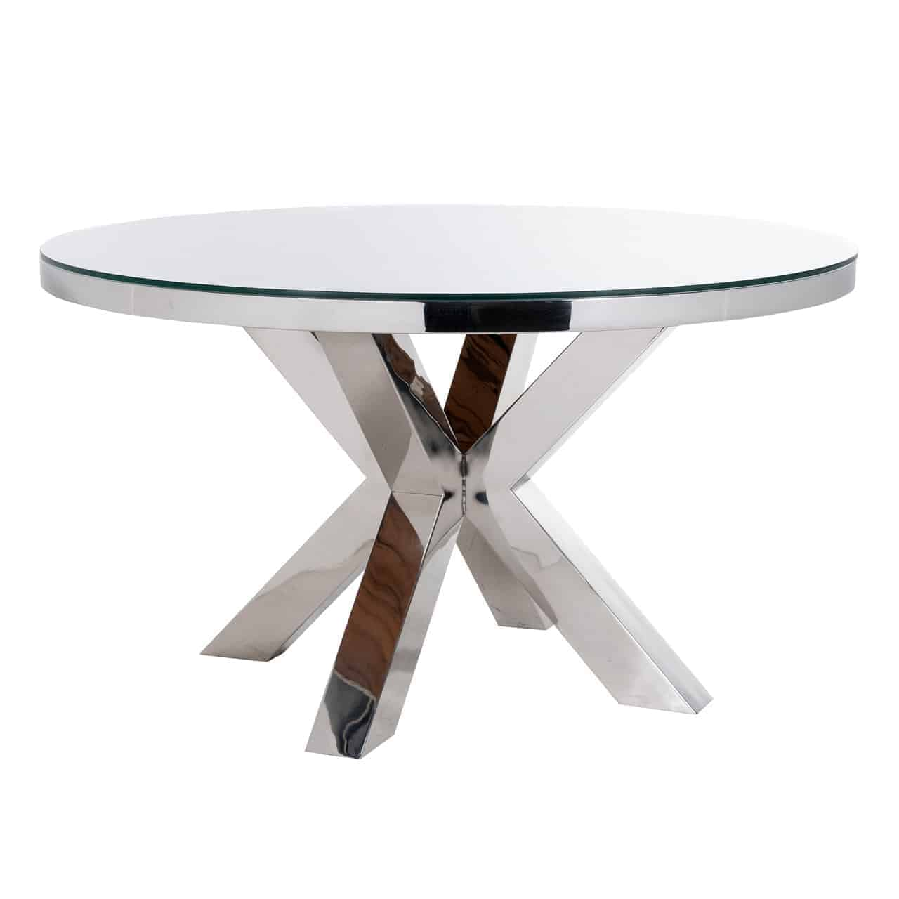 Dining table Kensington around 140Ø incl.glass (Silver)