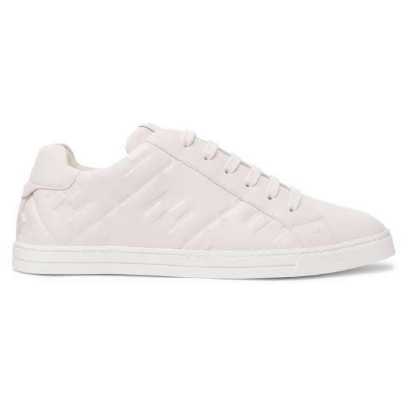 Fendi - Embossed Logo - Leather Sneakers - White - Side