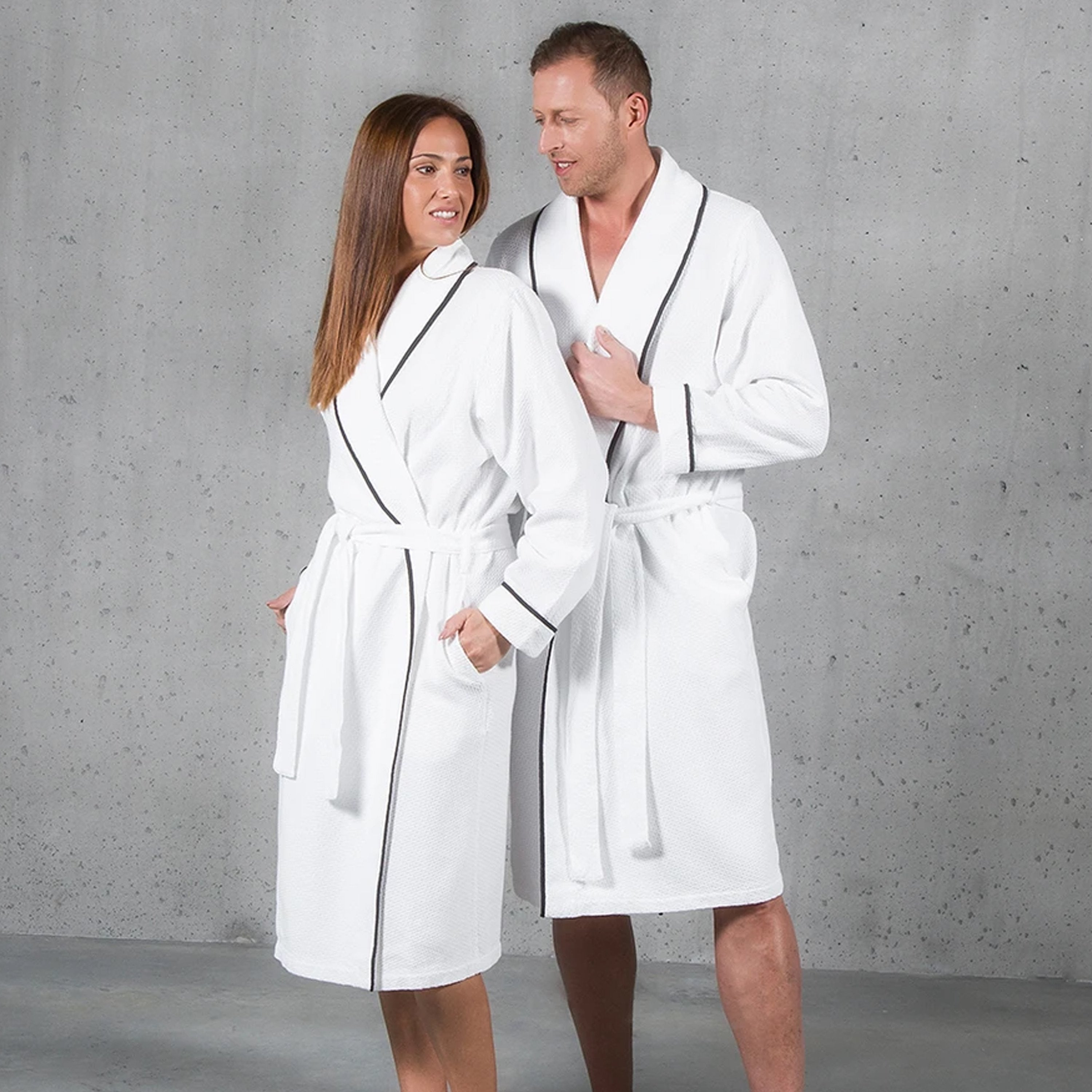 Hierlooms bathroom Robe sets with a variety of different colour piping