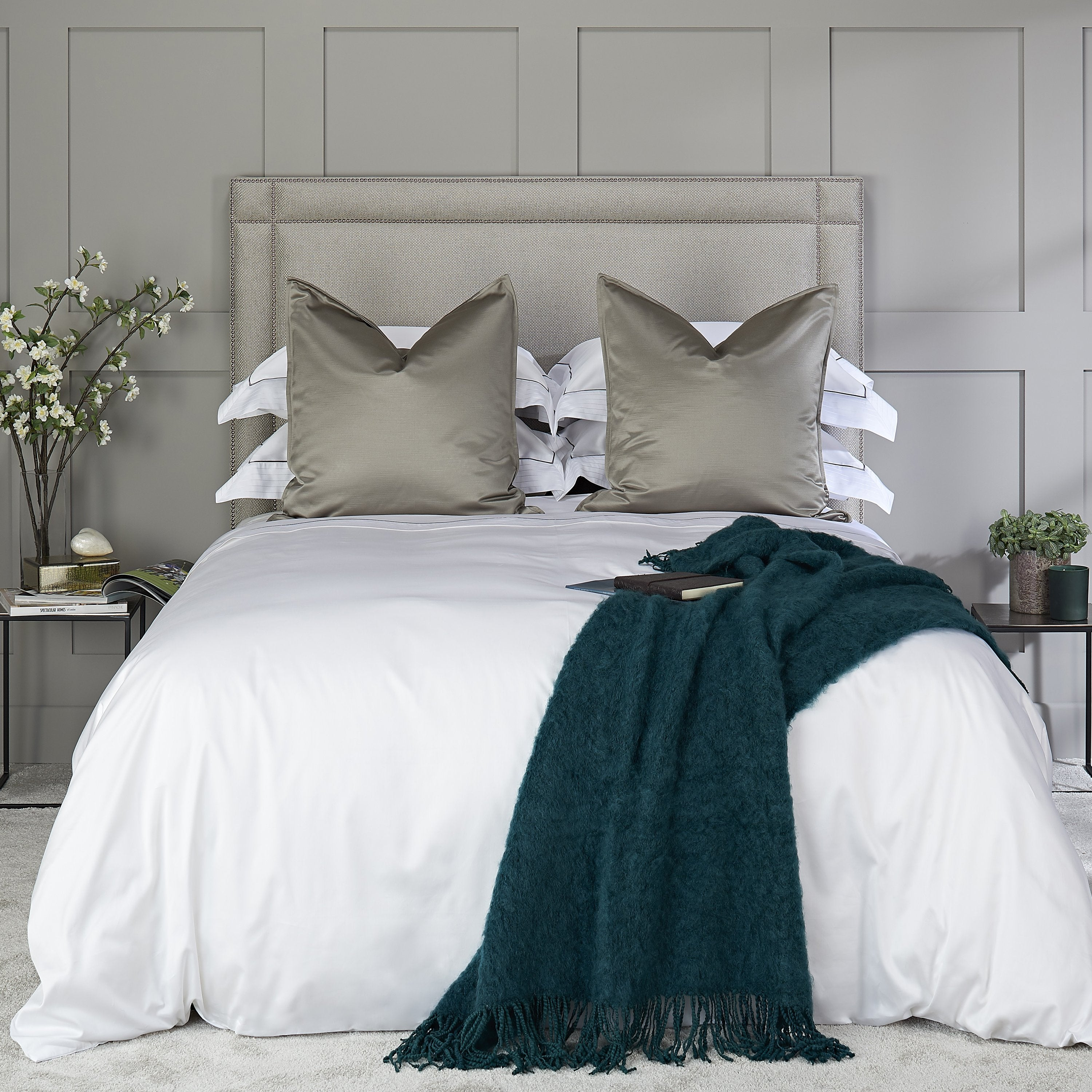 Heirlooms luxurious Sandringham cotton sateen white bedroom sheets set with a contrast border whose subtle self colour woven stitch adds shine to your lines