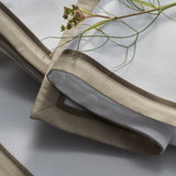 Provence table placemats is a contemporary design with warm taupe cotton sateen border with satin piping in chocolate colour
