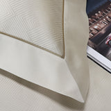Luxurious Pure Egyptian Jacquard woven cotton Sateen bed linen, available in sand and a silver colour.