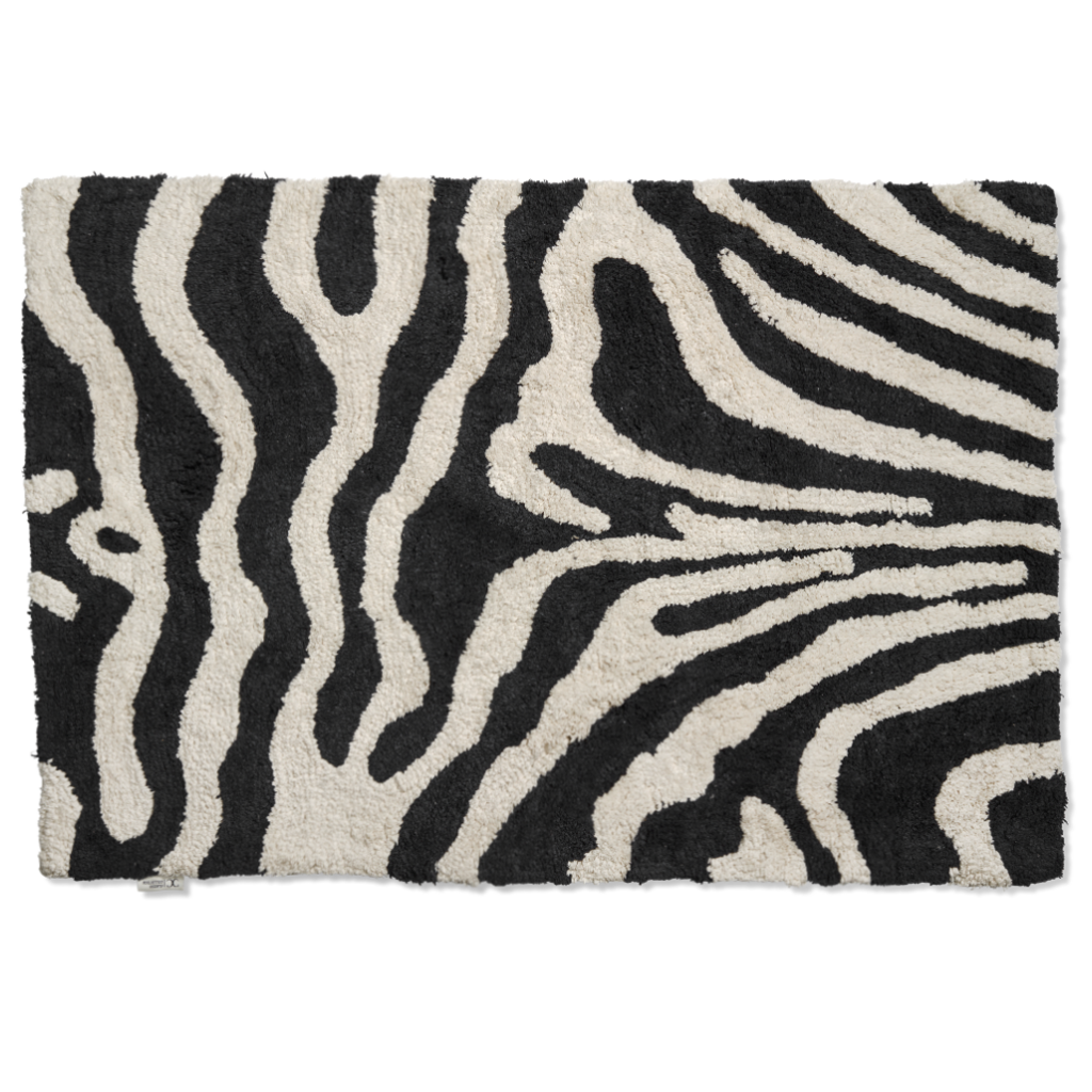 Bath Mat Zebra Black/White