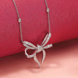 Necklace crafted in 18K White Gold Lyla's Bow Collection