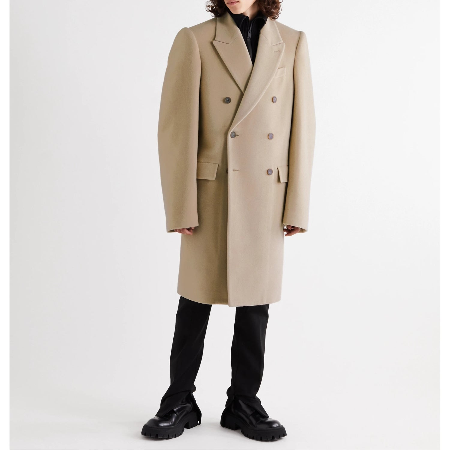 Oversized Double-Breasted Brushed Alpaca and Virgin Wool-Blend Coat