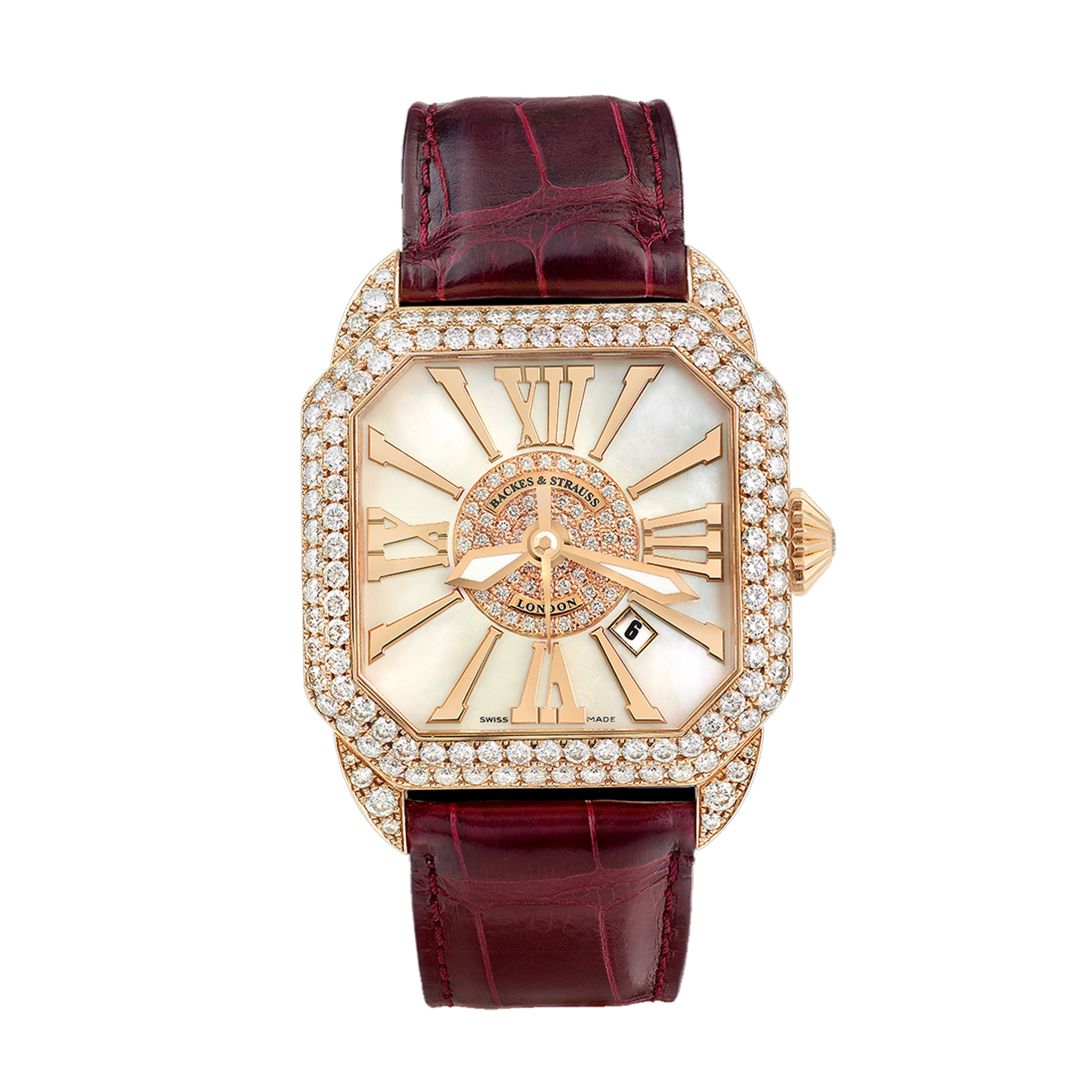 Berkeley 40 Luxury Diamond Watch for Men and Women - 40 mm Rose Gold - Backes & Strauss