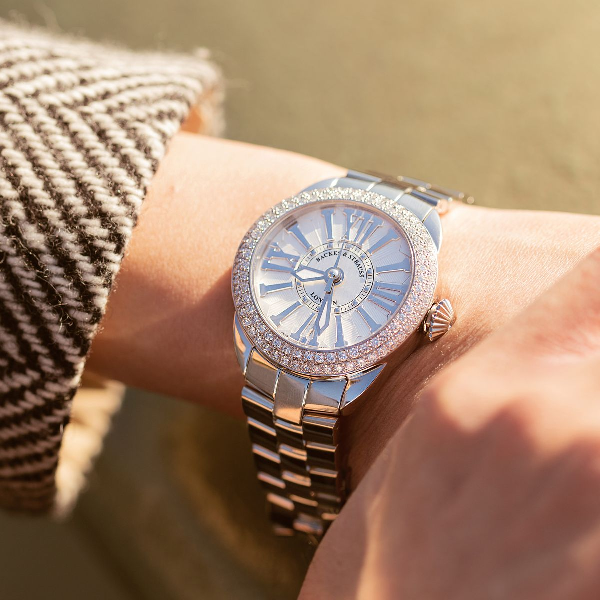 Piccadilly Steel 37 SP Luxury Diamond Watch for Women - 37 mm Stainless Steel - Backes & Strauss