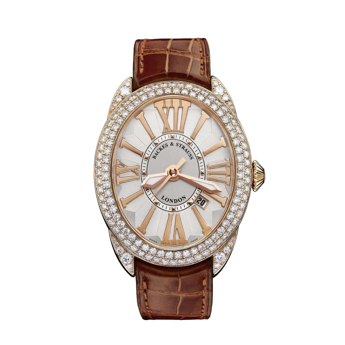 Regent 4452 Luxury Diamond Watch for Men and Women - 44 x 52 mm Rose Gold - Backes & Strauss
