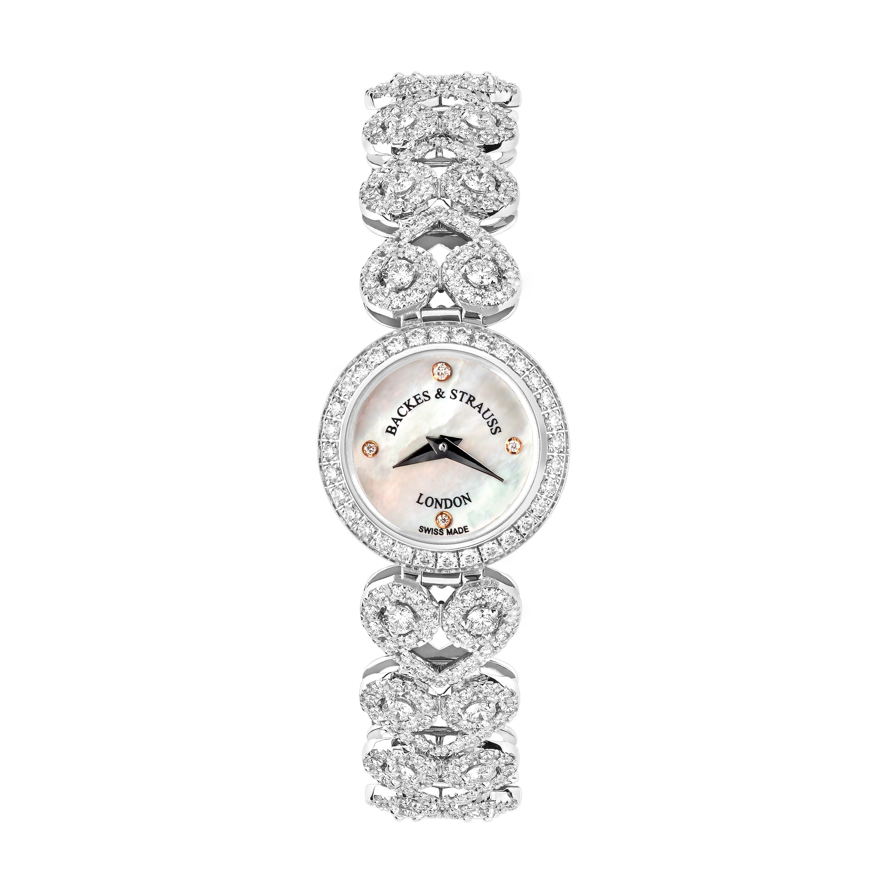 Lady Victoria Luxury Diamond Watch for Women - 18 mm White Gold - Backes & Strauss
