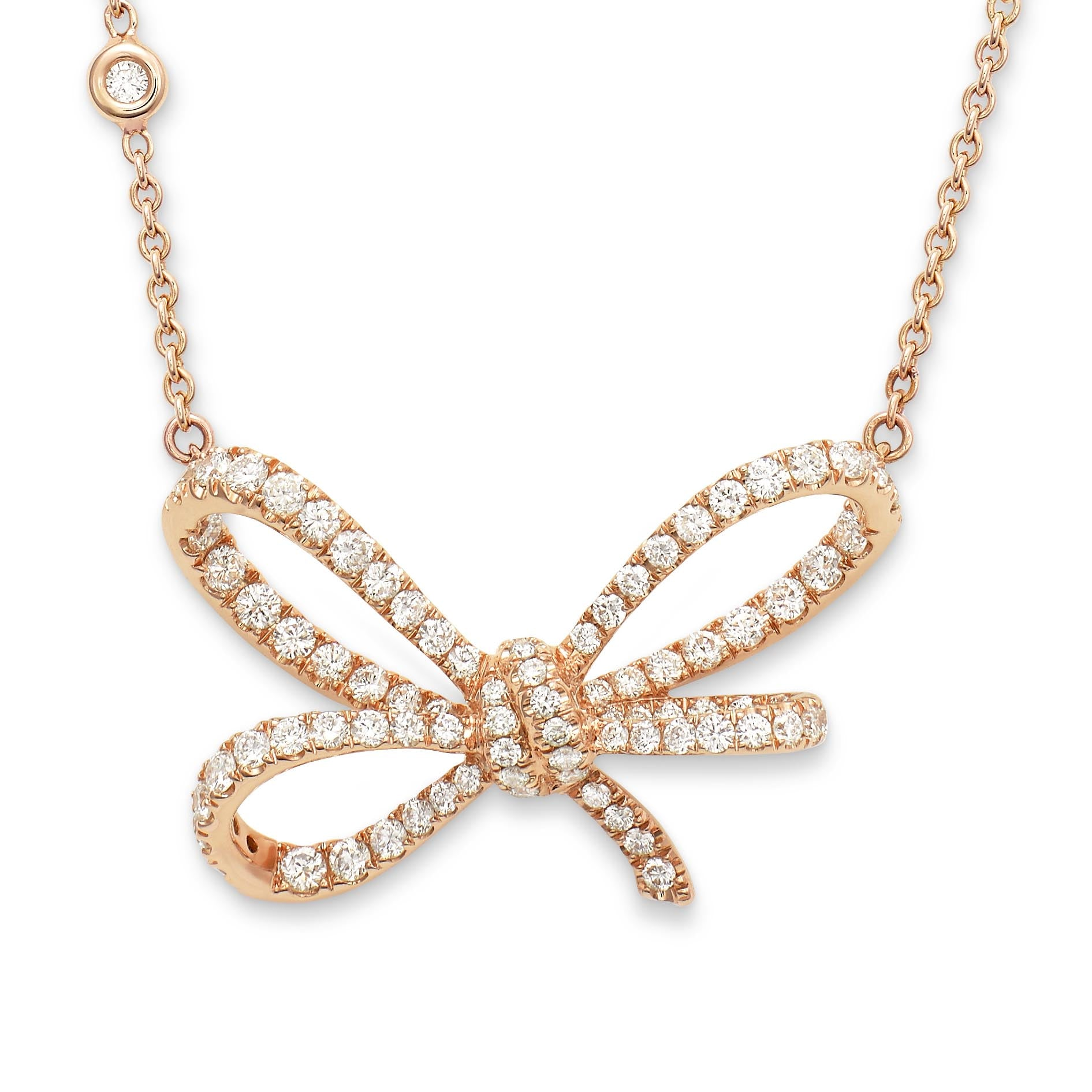 Necklace crafted 18K rose gold Lyla's Bow Collection